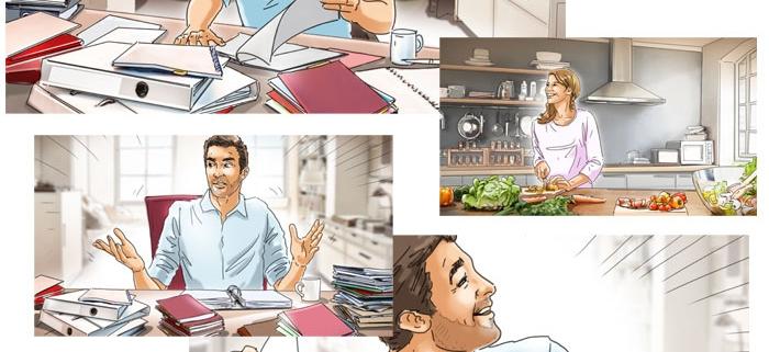 Storyboard bilder Büro