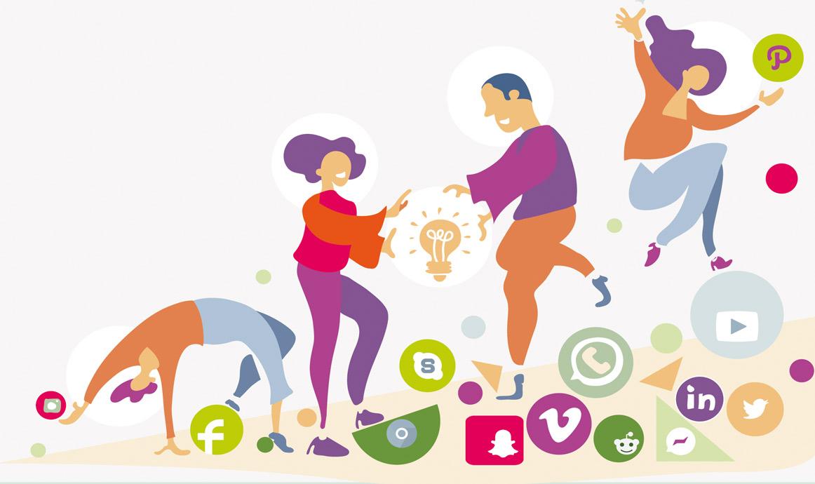 strategische Illustration mit Digitaler Wandel Symbolen